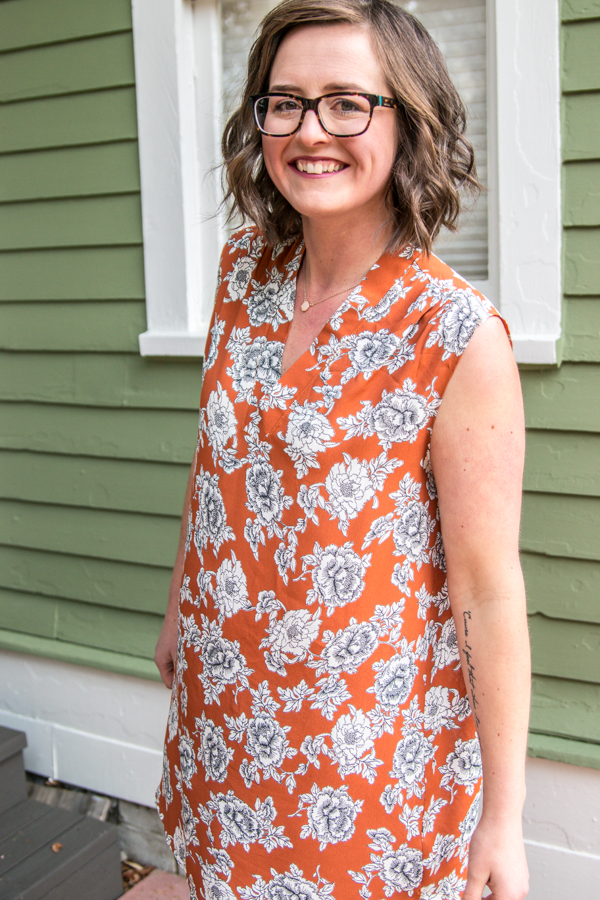 Every sewing pattern is just a starting place for all of the things you can do with it. The Leschi blouse pattern has the lines that are perfect for a sleeveless dress. Just a couple changes and you are left with a completely new look.